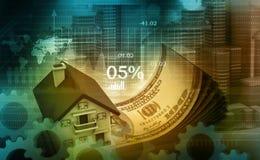 Illustration 3d des Hauses und des Dollars Stockbild