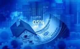 Illustration 3d des Hauses und des Dollars Stockbilder