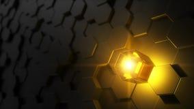 Illustration 3d des Hexagons bedeckte Wand Lizenzfreies Stockbild