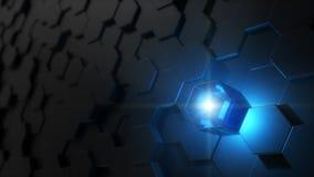 Illustration 3d des Hexagons bedeckte Wand Stockfoto
