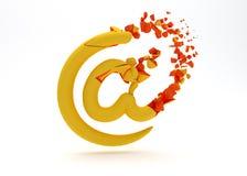 Illustration 3d des Internet-Symbols defekt und des gebrochenen lokalisiert auf Weiß stock abbildung