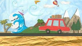 Illustration 3D des Konzeptes eines Sommerentweichens oder -reise am Morgen Stockfotografie