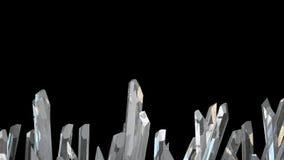 Illustration 3D des Kristallsteinmakrominerals Schwingquarze auf schwarzem Hintergrund Stockfoto