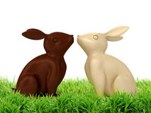 illustration 3D des lapins de chocolat Photos stock