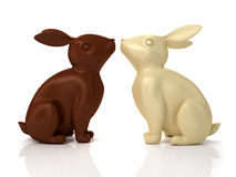 illustration 3D des lapins de chocolat Image libre de droits