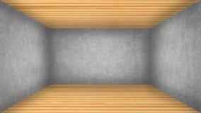 Illustration 3D des leeren konkreten und hölzernen Raumes Stockbild