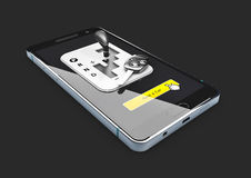 Illustration 3d des on-line-Mietautoservices, lokalisiert auf weißem Hintergrund Auto für Mietsymbol Stockfoto
