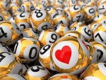 Illustration 3d des Lotterieballstapels ein Ball mit rotem Herzen Stockfoto