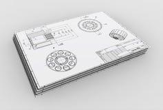 Illustration 3d des mechanischen Zeichnens Lizenzfreies Stockfoto