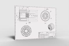 Illustration 3d des mechanischen Zeichnens Lizenzfreie Stockbilder