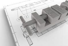 Illustration 3d des mechanischen Zeichnens mit Detail Lizenzfreie Stockfotos