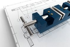 Illustration 3d des mechanischen Zeichnens mit Detail Lizenzfreie Stockfotografie