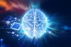 Illustration 3d des menschlichen Gehirns auf Technologiehintergrund Stockbild