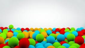 Illustration 3D des Misch-Farbballhintergrundes Bunter Plastikkugelhintergrund Stockfotos