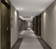 Illustration 3d des modernen Hotelkorridors Stockfotografie