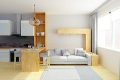 Illustration 3D des modernen Studioraumes in den grauen Farben stockfoto