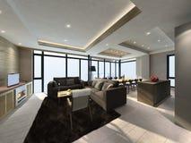Illustration 3D des modernen Wohnzimmers Innen Lizenzfreie Stockfotos