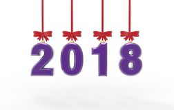 Illustration 3d des neuen Jahres 2018 Stockfotografie