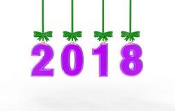 Illustration 3d des neuen Jahres 2018 Stockbild