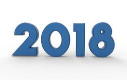 Illustration 3d des neuen Jahres 2018 Stockfoto