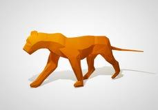 Illustration 3D des Origamilöwes Polygonaler Löwe Gehender Löwe des geometrischen Stils stock abbildung