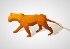 Illustration 3D des Origamilöwes Polygonaler Löwe Gehender Löwe des geometrischen Stils Lizenzfreie Stockbilder