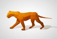 Illustration 3D des Origamilöwes Polygonaler Löwe Gehender Löwe des geometrischen Stils Stockbilder