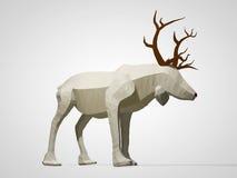 Illustration 3D des Origamirens Polygonale Rotwildzeichentrickfilm-figur des geometrischen Stils, Weihnachtsillustration Lizenzfreies Stockbild
