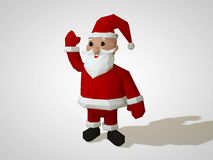 Illustration 3D des Origamis Santa Claus Polygonale Sankt-Zeichentrickfilm-Figur des geometrischen Stils, Weihnachtsillustration Stockfoto
