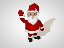 Illustration 3D des Origamis Santa Claus Polygonale Sankt-Zeichentrickfilm-Figur des geometrischen Stils, Weihnachtsillustration lizenzfreie abbildung