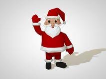 Illustration 3D des Origamis Santa Claus Polygonale Sankt-Zeichentrickfilm-Figur des geometrischen Stils, Weihnachtsillustration Lizenzfreie Stockfotografie