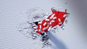 Illustration 3d des Pfeilbruches durch Wand Lizenzfreie Stockfotografie