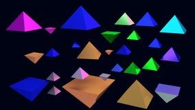 illustration 3d des pyramides brillantes planantes Photo libre de droits
