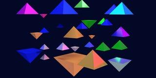 illustration 3d des pyramides brillantes planantes Photo stock