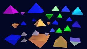 illustration 3d des pyramides brillantes planantes Images libres de droits