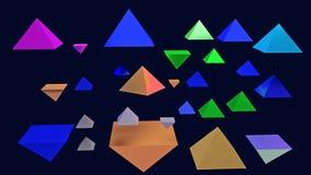 illustration 3d des pyramides brillantes planantes Images stock