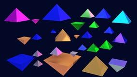 illustration 3d des pyramides brillantes planantes Photographie stock libre de droits