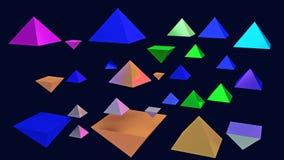 illustration 3d des pyramides brillantes planantes Photos stock