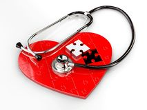 Illustration 3d des roten Puzzlespielherzens mit Stethoskop auf weißem Hintergrund stockbild