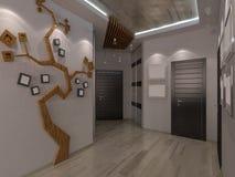 Illustration 3D des Salons kombinierte mit Küche Stockbild