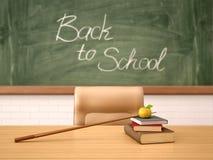 Illustration 3d des Schreibtisches des Lehrers Lizenzfreie Stockbilder