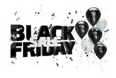 Illustration 3D des schwarzen Freitag-Verkaufsplakats Verkaufsfahne mit Ballonen und Konfettis Stockfotografie