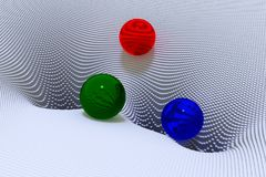 illustration 3d des sphères en verre et d'un paysage en forme d'entonnoir Photos stock