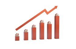 Illustration 3d des steigenden Immobilienmarkts Lizenzfreie Stockfotos