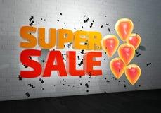 Illustration 3D des Superverkaufsplakats Verkaufsfahne mit Ballonen und Konfettis stock abbildung