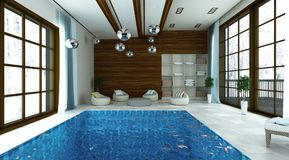 Illustration 3D des Swimmingpools mit modernem Aufenthaltsraumbereich stockbild