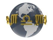 illustration 3d des symboles d'or de zodiaque autour de modèle de la terre illustration libre de droits