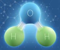 Illustration 3d des Wassers der chemischen Formel H2O lizenzfreie stockbilder