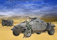 Illustration 3D des weiblichen Soldaten Sitting auf Militärfahrzeug Stock Abbildung