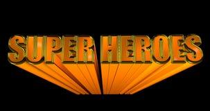 Illustration 3D des Wort Super Heroes auf schwarzem Hintergrund Wiedergabe 3d vektor abbildung